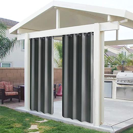 UniEco - Cortinas para exterior con ojales, cortinas de pérgola resistentes al moho, perfectas para jardín, patio,