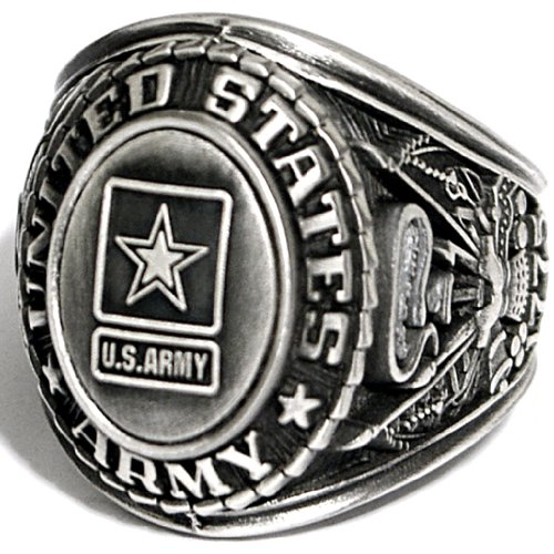 Ring Army Silver - US Army Insignia Ring - Silver Colored Army Veteran Ring - Military Collectibles