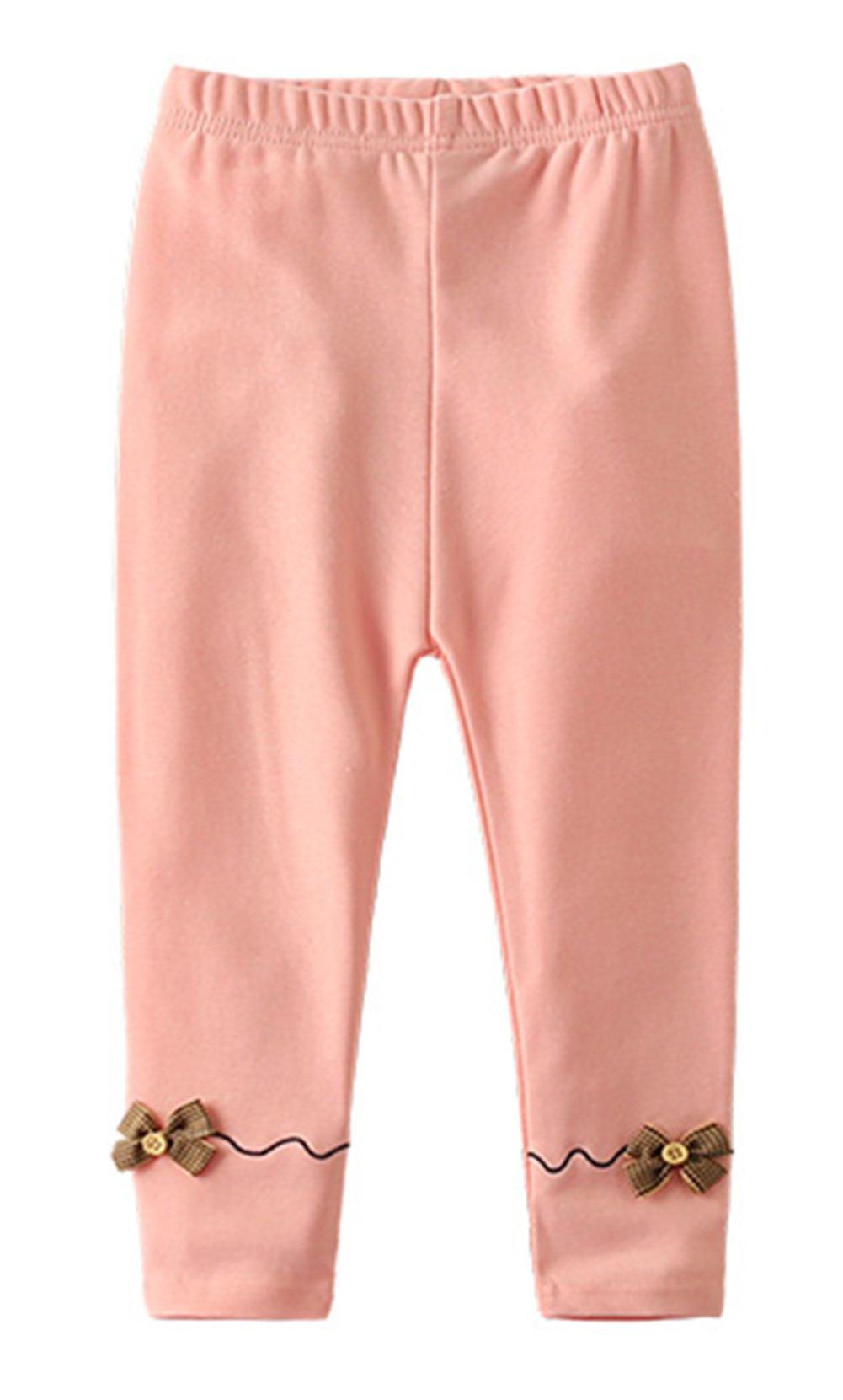 stylesilove Girls Soft Cotton Embellished Ribbon Jersey Leggings (110/4-5 Years, Pink)