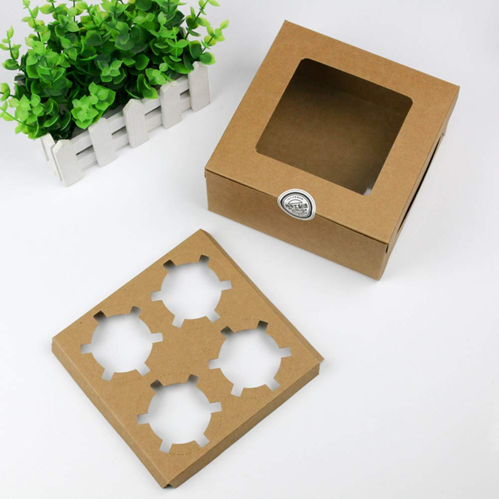 BESTONZON 4 cavidades Kraft Papel Caja de la Magdalena Contenedores de postres Panader/ía Pastel portadores con Inserto de Ventana para la Tienda de postres para el hogar