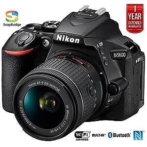 Nikon D5600 24.2MP DX-Format Digital SLR Camera w/AF-P 18-55mm f/3.5-5.6G VR Lens 1576B - (Certified Refurbished) +1 Year Extended Warranty