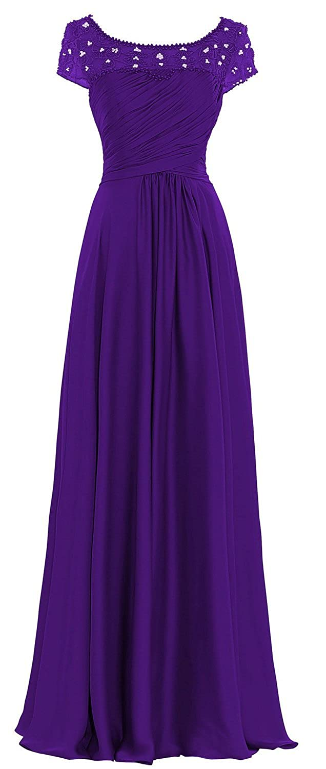 Fanciest Women's Lace Chiffon Mother of the Bride Dresses with Short Sleeves Burgundy