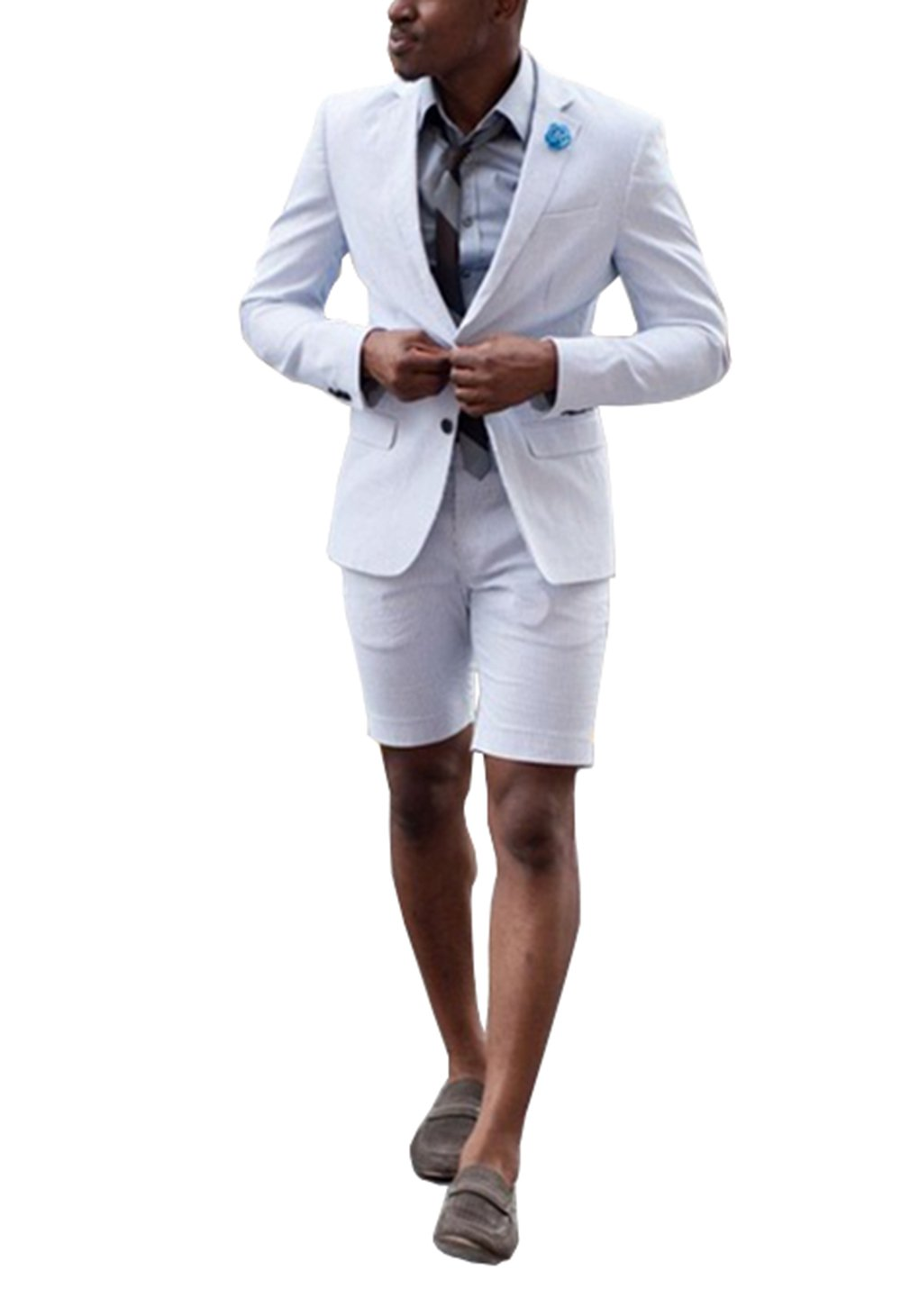 Fitty Lell Men Suit 2 Piece Groom Tuxedo with Short Pants Fashion Business Mens Summer Wear Suits Sets(42 Regular,White)