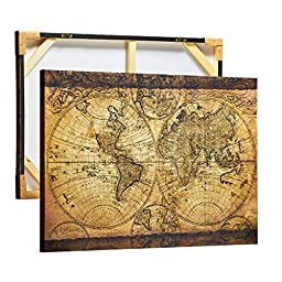 ArtKisser Home and Office Worldmap Wall Decor Old Vintage Large World Map Picture Canvas for Wall Art Retro The Map of the World Canvas Prints Framed and Stretched Paintings Ready to Hang 24\