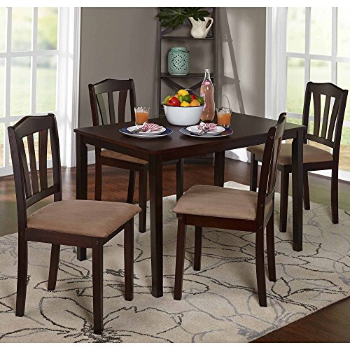 """5-Piece Dining Set Multiple Colors modern design 4 upholstered chairs dimensions: 16.5""""L x 17.32""""W x 35.5""""H and a table dimensions: 28""""L x 45""""W x 29""""H Wood Rubberwood, Micro fiber Fabric, Foam"""