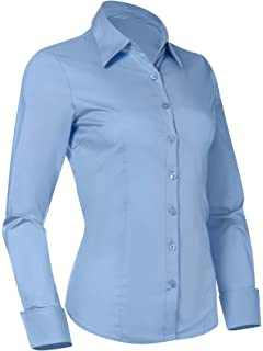 a3ab36483a1 Pier 17 Button Down Shirts for Women, Fitted Long Sleeve Tailored Work  Office Blouse