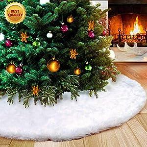 AWLGAK Gonna Albero di Natale,122 cm soffice Neve Bianco Natale Decorazioni Albero di Natale Vacanze gonne (48inch) 1 spesavip