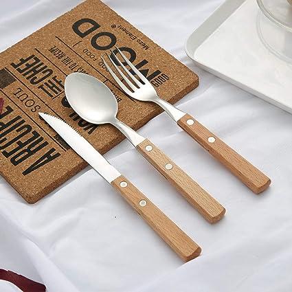 WHWH Set de Cubiertos 24 Piezas,Cuchillo, Tenedor y Cuchara ...