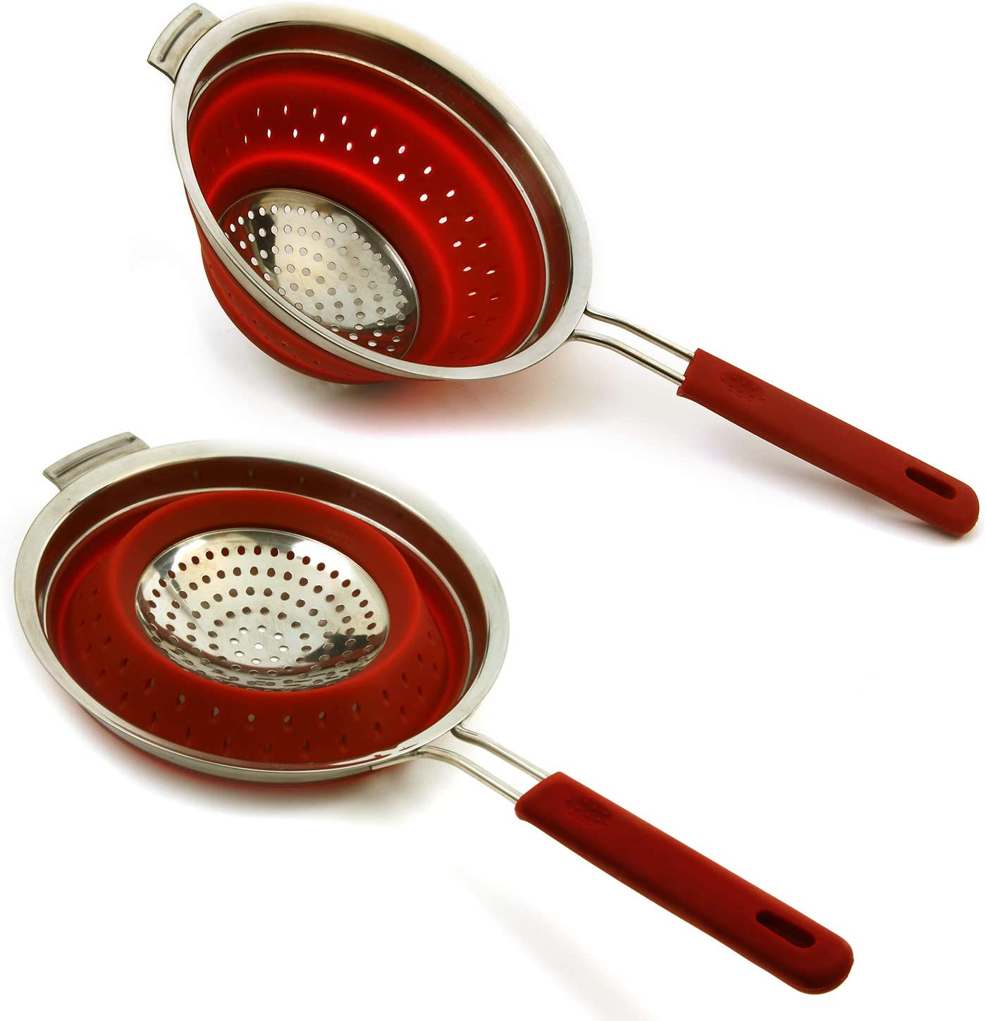 Norpro Knockdown Red Silicone 44 Ounce Collapsible Strainer