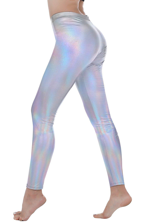 Women Faux Leather Leggings Wet Look Metallic Waist Legging Pants Trousers (VQ099-1 Multicolor Silver, XL)
