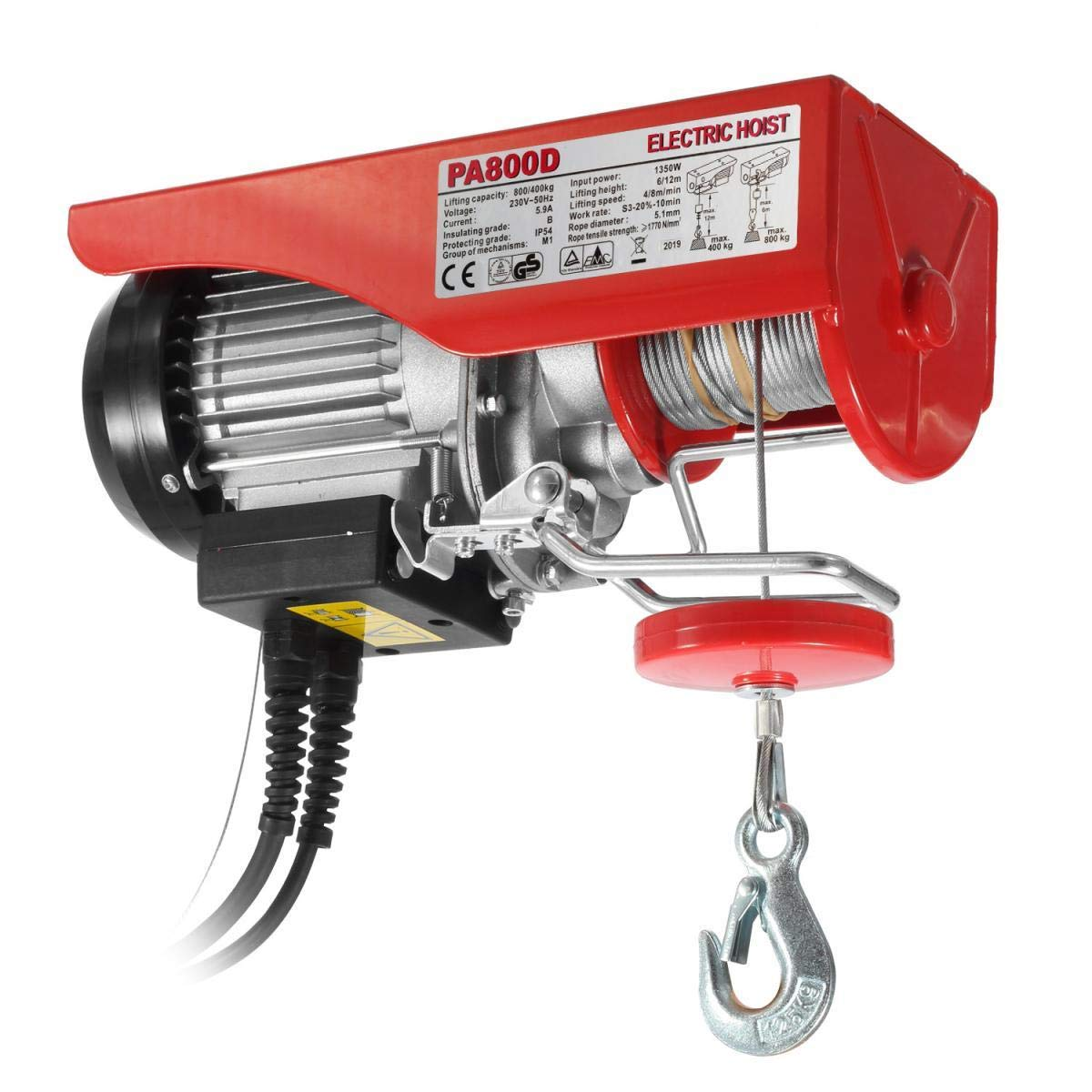Zinc-Plated Steel Wire Overhead Crane Garage Ceiling Pulley Winch w//Premium Towing Securing Straps Partsam 400//800kg Electric Hoist Lifting Crane Remote Control Power System