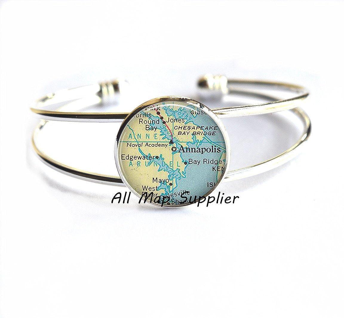 Anaapolis Bracelets map jewelry,A0267 Maryland map Bracelet Annapolis map Bracelet Annapolis map Bracelets Charming Bracelet,Annapolis