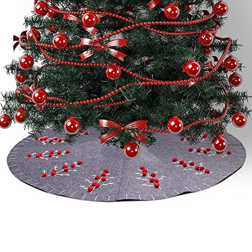 Asodomo 47inch Christmas Tree Skirt Felt Tree Skirt Under The Tree Christmas Decorations Indoor Outdoor
