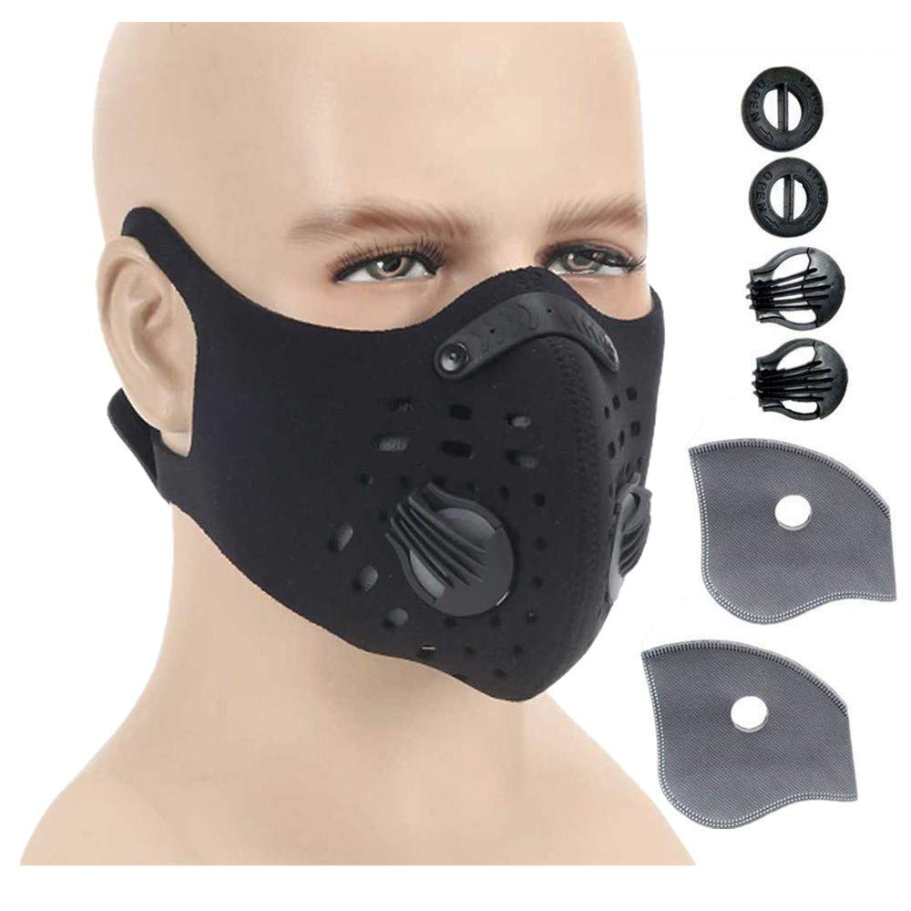 Ligart Activated Carbon Dustproof Mask Face Mask Filtration Exhaust Gas Anti Pollen Allergy PM2.5 Dust Mask Filter for Running Cycling and Other Outdoor Activities by Ligart