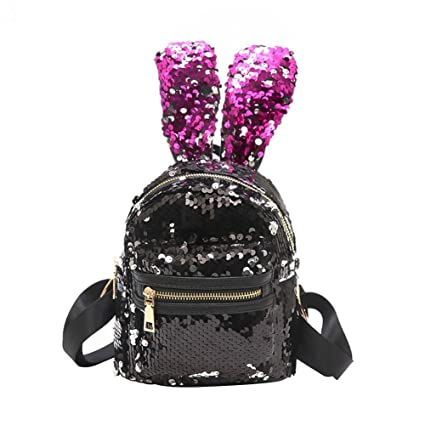 b75f687738 Image Unavailable. Image not available for. Color  Slendima Lovely Big  Rabbit Ears Sequin Backpack ...