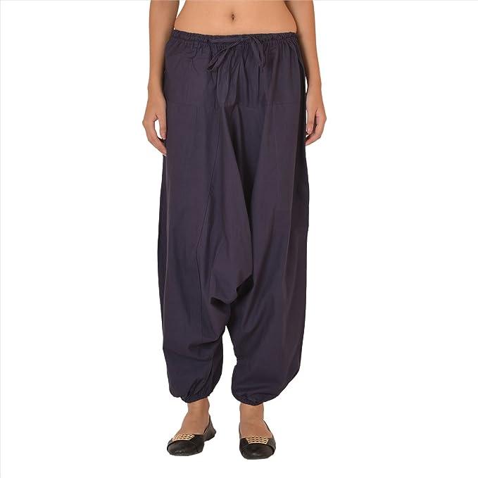 1493df13160 Women New Harem Pant Cotton Gypsy Elastic Yoga Aladdin Casual Trouser Blue
