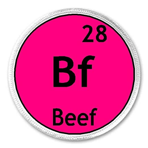 Amazon Beef Chemical Symbol 3 Sew Iron On Patch Funny Joke