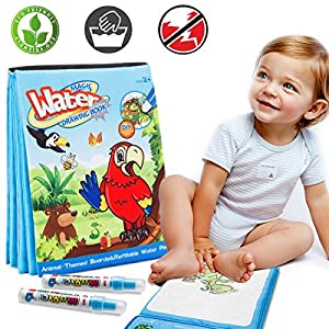 Magic Water Drawing Book Water Painting & Coloring Book With 2 Magic Pen Kids Educational Learning Toy Best Toddler Toys Gifts For Boy Girl Age 2 3 4 5 Year Old Travel Activities For Kids