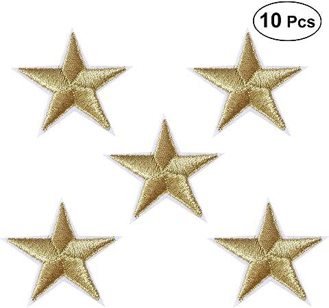 HEALLILY Parche bordado de bricolaje apliques de tela estrella pegatinas de planchado decorativas para accesorios de costura de tela 10 piezas (dorado): Amazon.es: Hogar