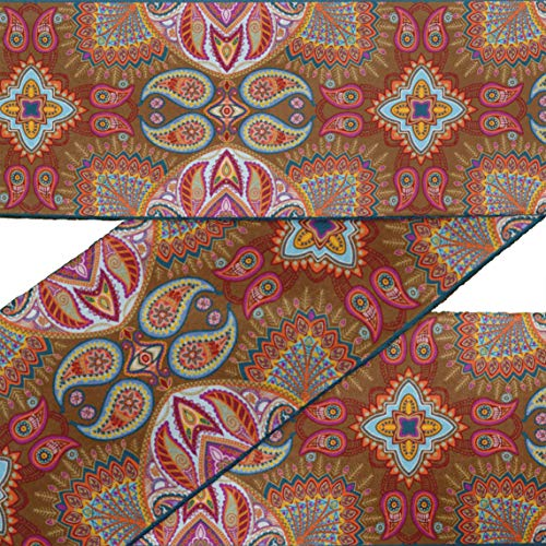 (IBA Indianbeautifulart Brown Artistic Paisley RibbonTrimTape Fabric Laces for Crafts Printed VelvetTrim9 Yards Sewing Accessories 3 Inches)