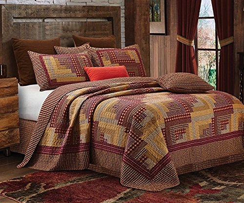 Montana Cabin Red / Tan Quilt Set King (Country Quilts King Size)