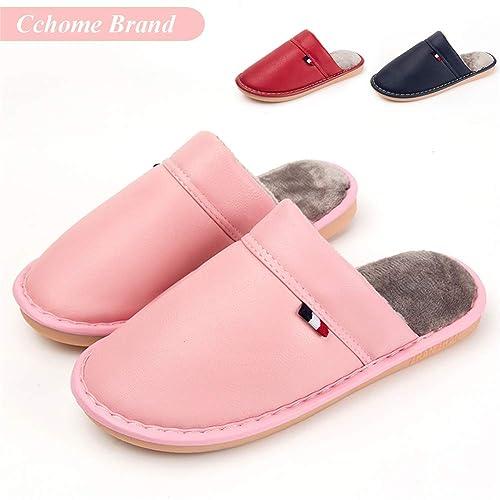 Zapatillas de Casa Mujer, CCHOME Zapatillas de Estar por Casa Impermeables de PU para Mujer