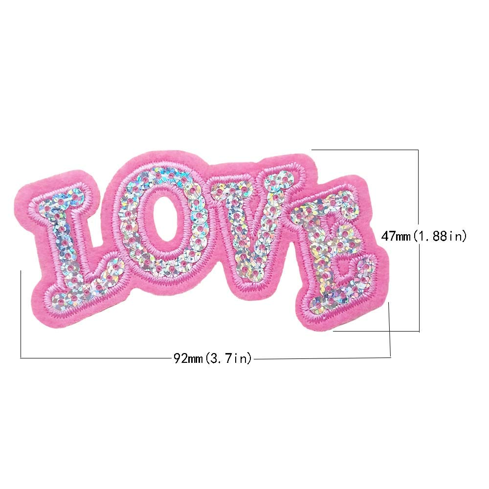Qingxi Charm 20pcs Sequin Letter Pink Love Sewing on//Iron on Embroidered Patches Clothes Dress Hat Pants Shoes Curtain Sewing Decorating DIY Craft Embarrassment Applique Patches Sequin Love 20pcs