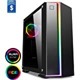 Game Max Starlight Mid-Tower RGB PC Gaming Case, Atx, Full Tempered Glass Side Window, IR Remote, Pwm Hub, Water Cooling Support, 1 x 120 Halo Single-Ring Spectrum Fans Included - Black