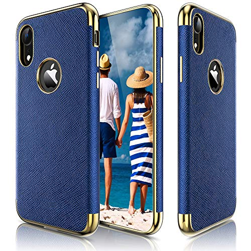 LOHASIC Premium Leather Case for iPhone XR, Slim Luxury Flexible Defender Anti-Slip Soft Grip Shockproof Protective Cover Cases Compatible with Apple iPhone XR (2018) 6.1 inch - Ink Blue