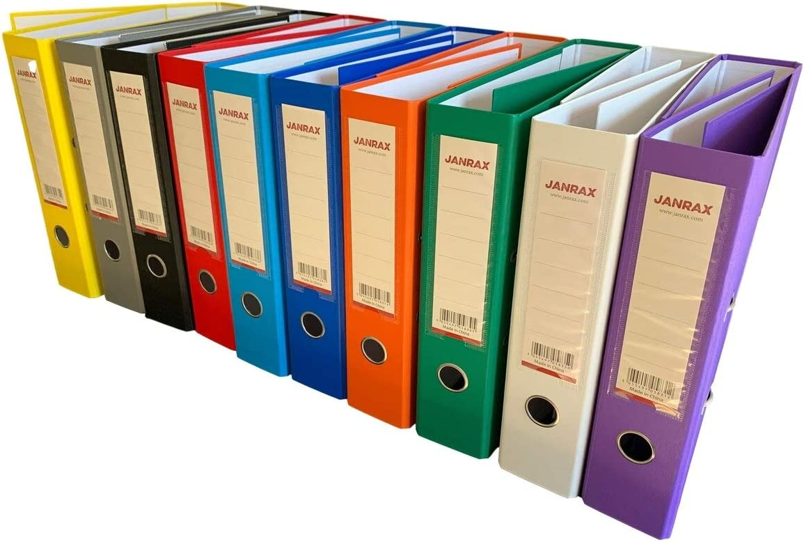 Pack of 5 A4 Red Paperbacked Lever Arch Files by Janrax