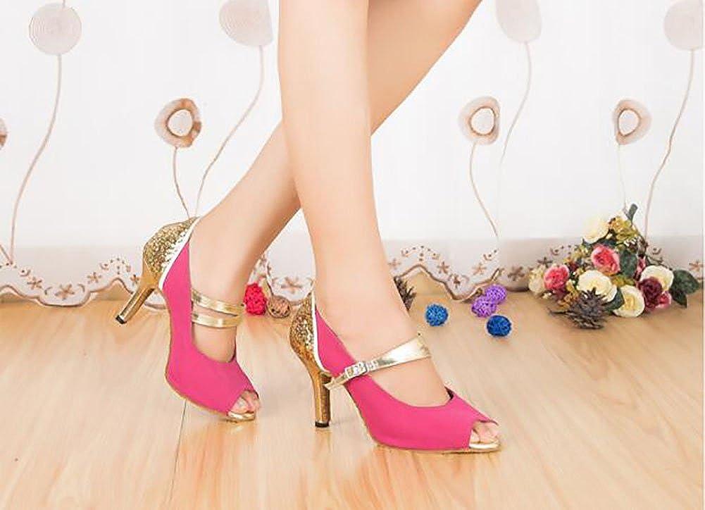 QWERTYUIOP Frauen Latein Tanzschuhe Leise Unten Dancing Schuhe High Heels Heels Heels Ballroom Dance Schuhe cc2043