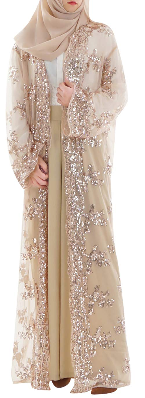 YI HENG MEI Women's Muslim Islamic Sequins Embroidered Sheer Lace Maxi Open Abaya Cardigan,Champagne,Tag M Length 56 inch
