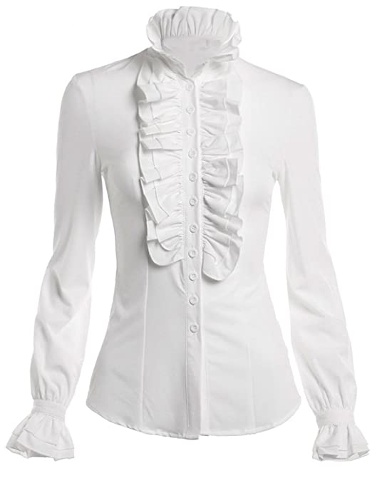 Edwardian Blouses | White & Black Lace Blouses & Sweaters Stand-Up Collar Lotus Ruffle Shirts Blouse $21.99 AT vintagedancer.com