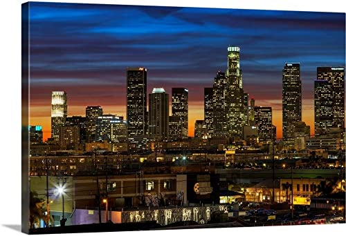 Downtown of Los Angeles at Sunset. Canvas Wall Art Print