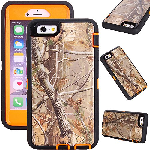 """Kecko(TM) For iphone 6 Plus Case, Defender Tough Rubber Camo Tree Branch Grass Shockproof High Impact Weather Resistant Hybrid Military Camouflage Extreme Duty Case for iphone 6 Plus 5.5 With Built-in Screen Protector (Not For iphone 6 4.7"""")--Leaves/Grass On The Core (Tree orange)"""