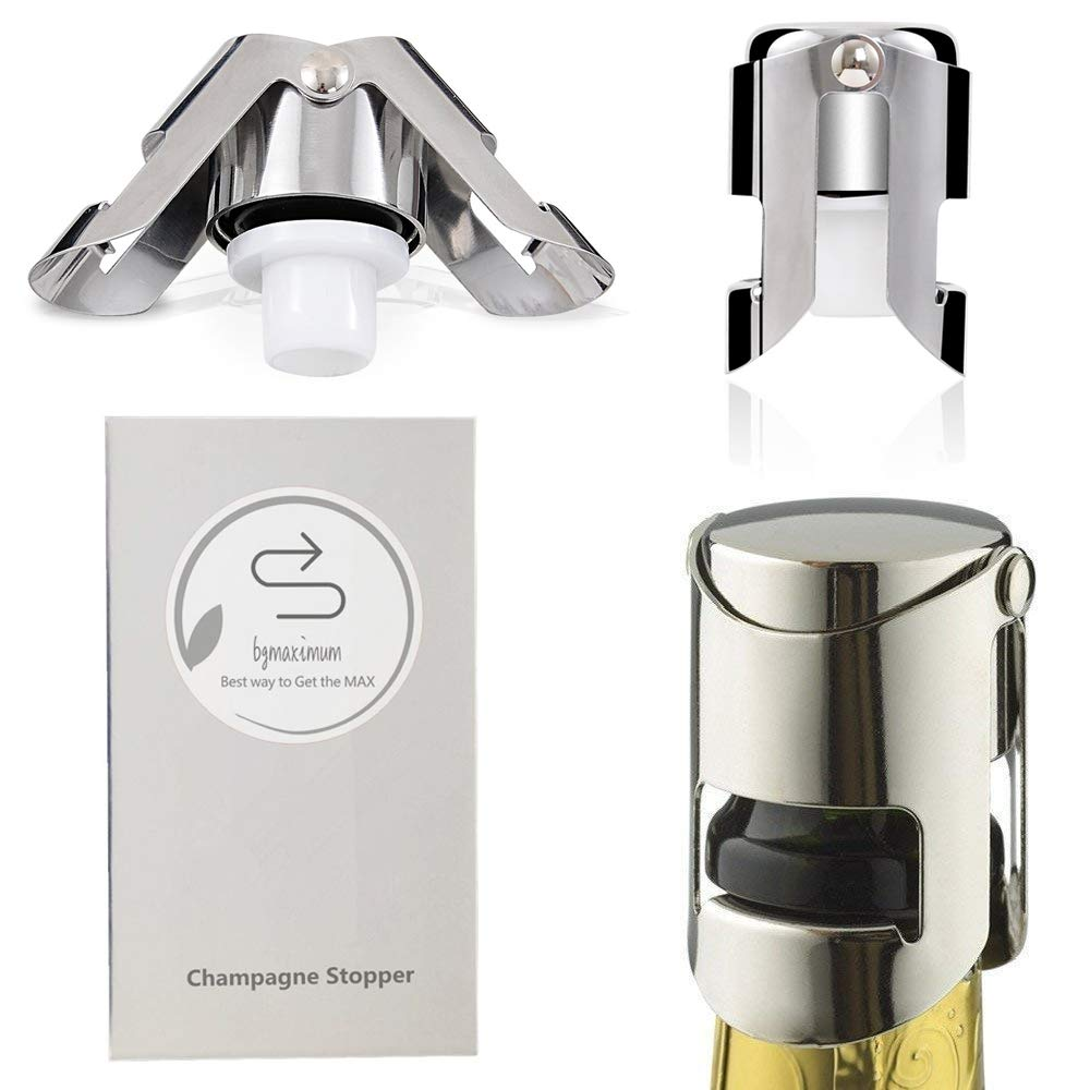Champagne Sealer Stopper, BGMAX 3 Pack Stainless Steel Sparkling Wine Bottle Plug Sealer Set with a Longer Sealing Plug, Gifts Accessories for Champagne