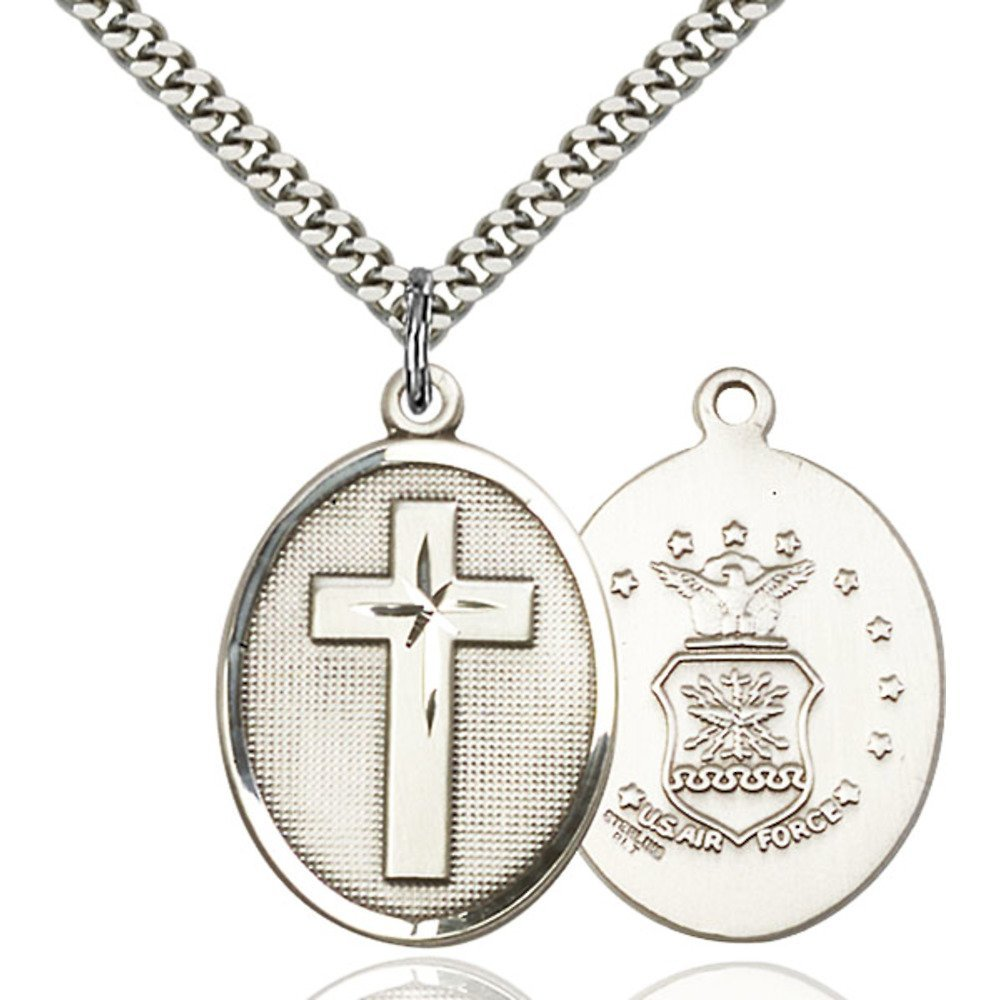 Sterling Silver Cross / Air Force Pendant 1 x 3/4 inches with Heavy Curb Chain