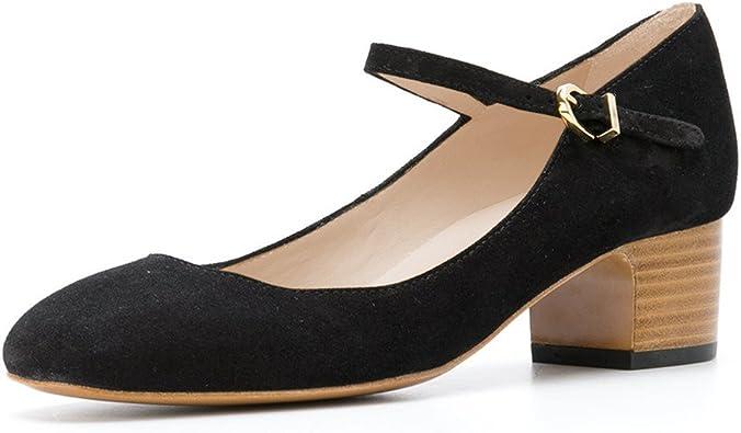 FSJ Women Mary Jane Stacked Block Heels