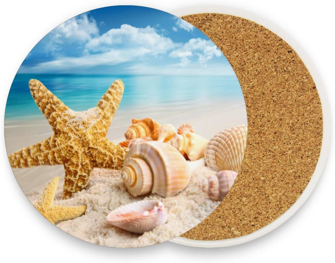 Kcldeci Starfish Beach Coasters for Drinks 4 Pieces Set Seashell Conch Shell Bar Cup Coaster Coffee Mug Glass Pad Tabletop for Table Kitchen Dining Home Decor