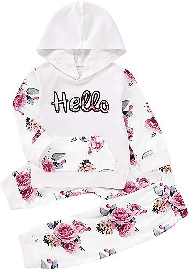 puseky conjunto de trajes de chándal con capucha hola floral para niñas bebés y bebés + pantalón + diadema: Amazon.es: Ropa y accesorios