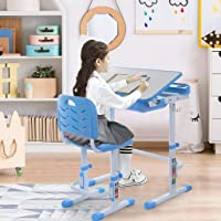 Naano 【US Rapid】 Height Adjustable Kids Desk and Chair Sets Children Study Table Multifunctional School Students Writing Drawing Desk Tilt Desktop Storage Drawer Bookstand for Boys & Girls (Blue)