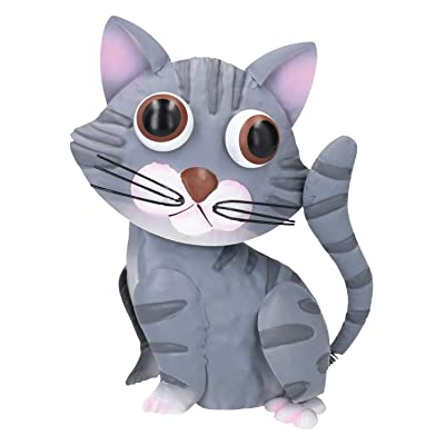 """Primus A.Perry Bobble-Tail Cat Garden Statue - Big-Eyed Lawn Ornament, 10"""" Tall - Grey Tabby : Garden & Outdoor"""
