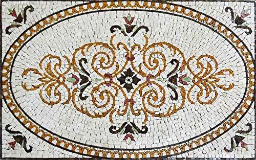 Arabesque Marble Rug Mosaic - Sand | Mosaic Art | Mosaic Designs | Mosaic Artwork | Mosaic Wall Art by Mozaico | Handmade Mosaics | 46