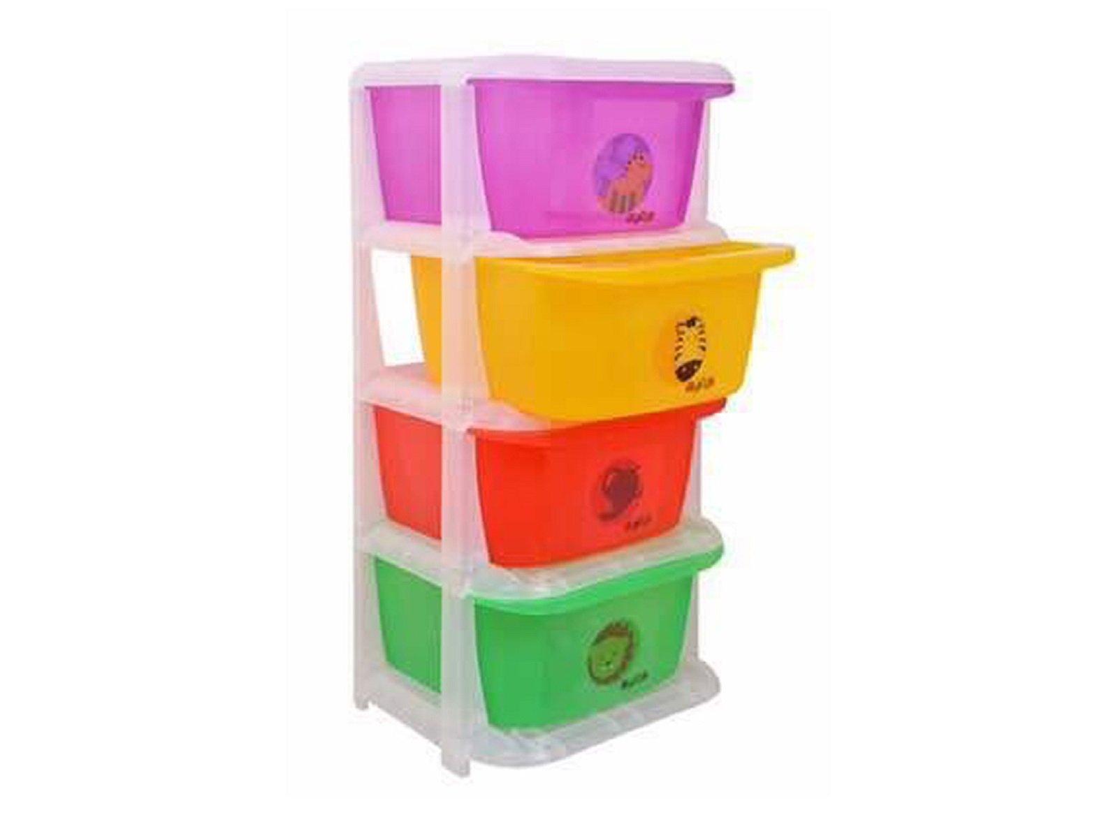Kuber Industries Storage Drawers Basket for Kitchen/Office/Children/Toy With 4 Drawer in Moduler Design (Multiple usages) Basket007