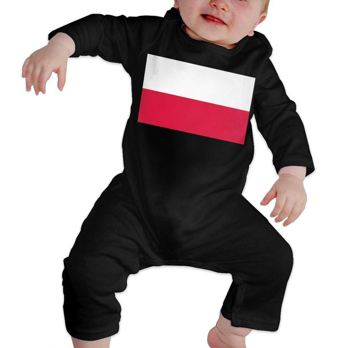 U99oi-9 Long Sleeve Cotton Rompers for Baby Girls Boys Fashion Poland Flag Crawler