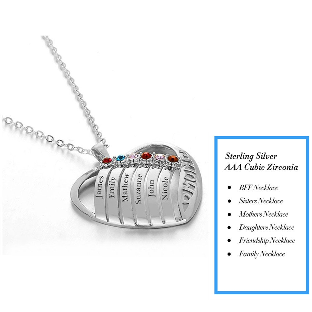Lam Hub Fong Personalized Mothers Heart Necklace Pendant with 6 Simulated Birthstones Mom Necklace Mothers Day Necklace Family 6 Name Pendant