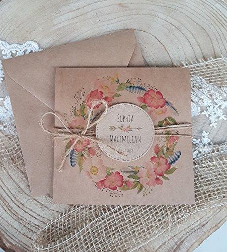 Hochzeiteinladungen Boho Hochzeit Blumen Rustikal Amazon De Handmade