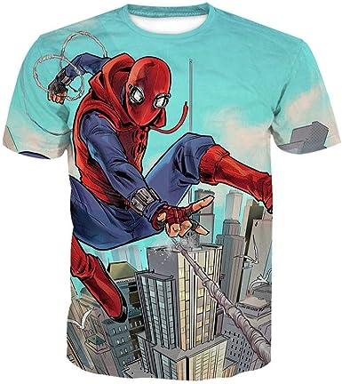 Wehor Camisetas Hombre T-Shirts Hombre Manga Corta Casual Camisa de Polo 3D Algodón Suave Secado Rapido Sudadera 0.2KG Spiderman XS: Amazon.es: Ropa y accesorios