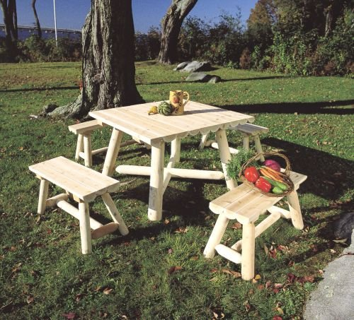 """Rustic Natural Cedar 0201130 35"""" Square Dining Group"""