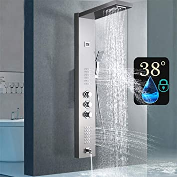 Shower Panel Tower System Rain/&Waterfall Massager Body Jet Taps Brushed Nickel
